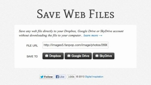Download Files from Web Directly to Google Drive, Sky Drive, Drop Drive,
