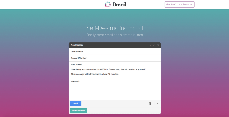 Dmail eliminates and overturns Gmail messages with no time constraint
